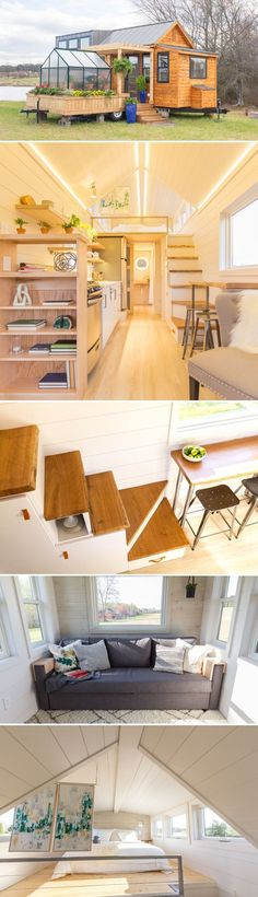 From Olive Nest Tiny Homes is The Elsa, a tiny house that was featured on Season Episode 2 of Tiny House, Big Living! Interior Designs From Olive Nest Tiny Homes is The Elsa, a tiny house that was featured on Season Episode 2 of Tiny House, Big Living! Tiny House Big Living, Tiny House Plans, Tiny House Movement, Tyni House, Ikea House, Loft House, Casas Containers, Building A Shed, Tiny House Design