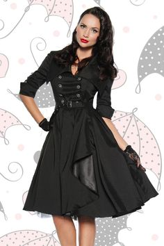 fb421eec6f Rockabilly Dress Black Dress Coat