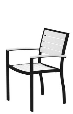 Polywood A200FABWH Euro Dining Arm Chair in Textured Black Aluminum Frame / White
