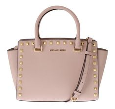material : leather model: selma stud color: ballet(pink) measurements: 20 cm x 28 cm x 13 cm strap: 100 cm zip closure. Michael Kors Shopping Bag, Handbags Michael Kors, Purses And Handbags, Dolce & Gabbana, Studded Leather, Leather Satchel, Phillip Lim, Emporio Armani, Givenchy