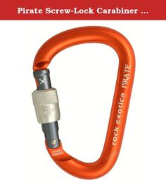 Pirate Screw-Lock Carabiner - Screw-Gate by Rock Exotica. 212676 Features: Lock in up securely with the keylock and offset gate of this lightweight and durable biner Specifications: Weight: 81 grams Type: locking Gate closed strength: 26 kN Gate open strength: 7 kN Minor axis strength: 11 kN.