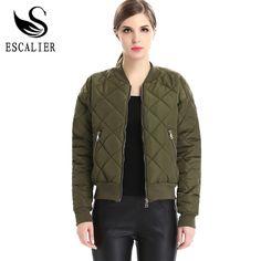 ESCALIER Apparel Winter Parkas Basic Bomber Jacket Women Army Green Down Coats Padded Zipper Biker Style Female Outwear