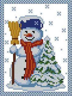 Advanced Embroidery Designs - Snowman with Christmas Tree.