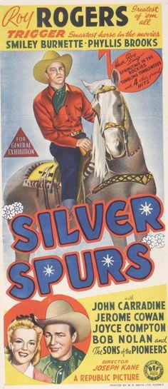 Silver Spurs (1943) Stars: Roy Rogers, Trigger, Smiley Burnette, John Carradine, Phyllis Brooks, Joyce Compton, Bob Nolan ~ Director: Joseph Kane (Australian Daybill)