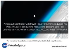 On March 27, 2015, NASA astronaut Scott Kelly and Russian Cosmonaut Mikhail Kornienko will launch to the International Space Station, beginning a one-year mission in space, testing the limits of human research, space exploration and the human spirit.  http://www.nasa.gov/content/one-year-mission/