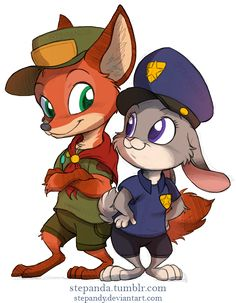 stepanda:  Nick Wilde and Judy Hopps by StePandy  This is my first fanart i made of Zootopia:  http://stepanda.tumblr.com/post/121844806320/zootopia-by-stepandy