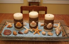 candle centerpiece   The burlap candles are the same ones used for spring. I took the bows ...