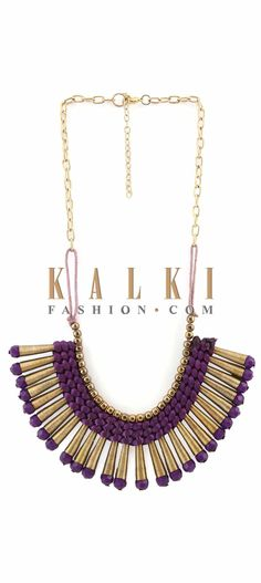 Buy Online from the link below. We ship worldwide (Free Shipping over US$100) Price-$29 Click Anywhere to Tag http://www.kalkifashion.com/featuring-gold-and-purple-necklace-in-metal-only-on-kalki.html