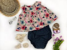 Ruby Set: Spring Floral Girl's Top & High Waisted Bloomers Set, Children's Tropical Wildflower Vintage Peplum Outfit, Tea Garden Party, baby girl, summer, floral, stylish, etsy, trendy, afflink