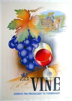 VINE wine poster from 1939 with art by B. Pramvig; ORIGINAL, linen mounted
