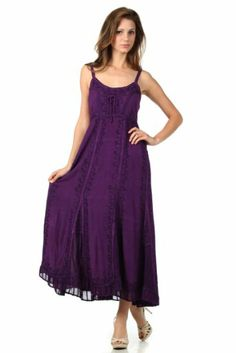 Amazon.com: Sakkas 0212 Stonewashed Empire Waist Floral Vine Trumpet Crepe Inlay Ruffle Hem Dress - Purple - One Size: Clothing