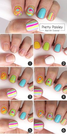 This nail art is full of fun colors, stripes and paisley. Bring on that warm weather! These bright, colorful nails are ready for the sun. #mani #manicure #summer #spring