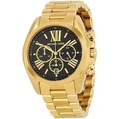 Pre-owned Michael Kors Mid-Size Chronograph Black Dial Gold Tone... ($215) ❤ liked on Polyvore