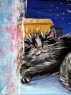 С учениками (5-6 лет) рисовали кошек и собак разными материалами, вот результаты нашего творчества. Первая работа моя, дальше детские, использовали для работы гуашь, шторы отпечатывали подложкой от продуктовой нарезки, произвольно рисовали на ней линии, наносили краску и делали отпечаток (можно использовать кусочки тюли или кружева). фото 2