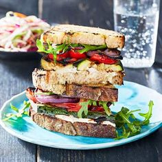 Grilled Vegetable Sandwiches with Creamy Herb Spread