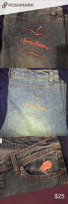 Women's / Girls Apple Bottom jeans size 7/8 🍏🍎🍏 Hey guys! In this listing you are purchasing a brand new pair of women's Or Girls Apple Bottom jeans size 7/8 with orange stone washed stitching. ** Please note these are a petite small fit*** The measurements across the front waist is 16.5 inches across and top to bottom is 37 inches long. The inseam is 31 inches long.  Grab these sexy jeans before they're gone! Apple Bottoms Pants Straight Leg