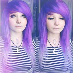 @milkwhore - instagram, moon&star necklace, purple hair, faded tips, stripes, pastel