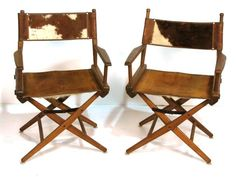 182: Pr. LEATHER & COWHIDE FOLDING CHAIRS : Lot 182