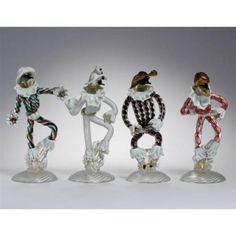 Four-Seguso-Vetri-d-039-Arte-commedia-dell-039-arte-glass-figures-Murano-1942-Lot-112
