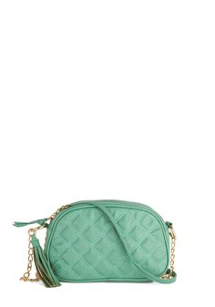 The Good Ole Maize Bag in Mint. As your cool mint purse swings merrily by its chain strap, brushing gingerly against your artsy A-line skirt, youre reminded of the breezy days of your younger years. #mint #modcloth
