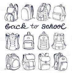 Hand drawn Vector Set of Sketch Doodle Backpacks. Back to school. royalty-free hand drawn vector set of sketch doodle backpacks casual backpack Crochet Backpack, Diy Backpack, Backpack Pattern, Fashion Backpack, Longchamp Backpack, Kipling Backpack, Prada Backpack, Herschel Backpack, Adidas Backpack