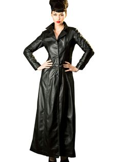 Honour Women's Sexy Trench Jacket Coat in Leather Fitted Long Floor Length | eBay