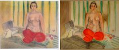 The original painting by Matisse titled Odalisque in Red Pants, left, next to a fake version that was on display at the Museum of Contemporary Art in Caracas, Venezuela. The original work was swapped with a forgery in Museum Of Contemporary Art, Modern Art, Dna Technology, Matisse Paintings, Henri Matisse, Science Art, Art World, Crime, Art Pieces