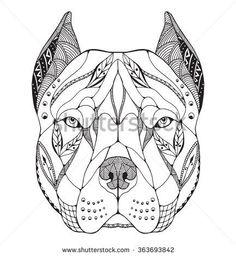 Pit bull terrier head zentangle stylized, vector, illustration, freehand pencil, hand drawn, pattern. Zen art. Ornate vector. Lace.