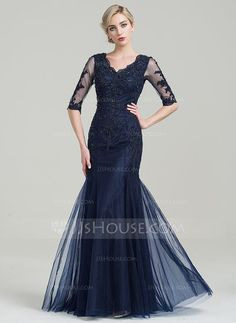 Trumpet/Mermaid V-neck Floor-Length Beading Appliques Lace Sequins Zipper Up Sleeves 1/2 Sleeves No 2016 Dark Navy General Plus Tulle Mother of the Bride Dress