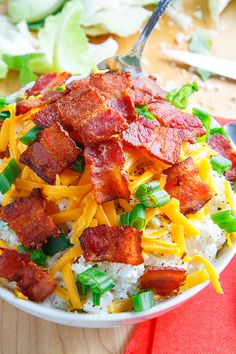 Loaded Cauliflower Salad Recipe : All of the flavours of loaded baked potatoes with sour cream, cheese, bacon and green onions in a cauliflower 'potato' salad! Loaded Cauliflower, Cauliflower Salad, Cauliflower Recipes, Low Carb Recipes, Cooking Recipes, Healthy Recipes, Low Carb Summer Recipes, Free Recipes, Vegetable Dishes