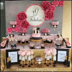 Distinctive Party Designs 's Birthday / Fashion - Photo Gallery at Catch My Party 40th Bday Ideas, 40th Birthday Decorations, 50th Party, 30th Birthday Parties, Birthday Ideas For Women, 40th Birthday Themes, Gold Party, I Party, Birthday Fashion