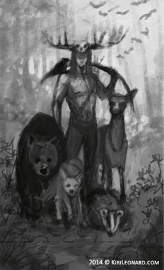 Illustration of the horned god in the forest surrounded by animals