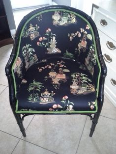 Chinoiserie chic faux bamboo chippendale barrel chair
