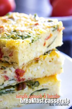 This Simple Spinach and Tomato Breakfast Casserole is filled with eggs, tomatoes, spinach, and cheese for a comforting breakfast you'll want to make again and again!