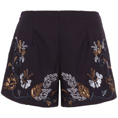 Black And Gold Sequined Shorts (1,520 MXN) ❤ liked on Polyvore featuring shorts, black and gold shorts, sequined shorts and black and gold sequin shorts