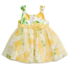 Infant Roses Empire Dress - yellow green