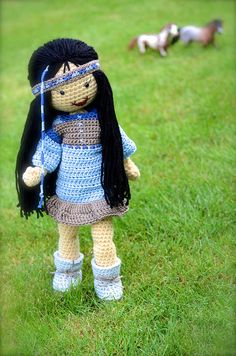 No Pattern. Crocheted Native American Doll.