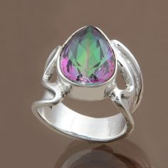 Rainbow Mystic 925 SOLID STERLING SILVER RING JEWELRY 5.11g DJR8773 SIZE 5 #Handmade #Ring