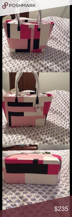 """Brand New Shore Street Kate Spade Handbag. Brand New Never Used Kate Spade Shore Street Margareta  Color Block Party Tote. This is a very large roomy bag. 11.3""""h x 15.6""""w x 6.2""""d. Drop length of 9.8"""". This is Leather Grainy Vinyl with zipper closure. Dual interior slide pockets and interior zipper pocket. kate spade Bags Shoulder Bags"""