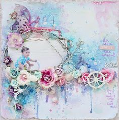 """""""Pretty Little Mermaid"""" Layout : Stacey's May Inspiration by Stacey Young for 2 Crafty Chipboard - Wendy Schultz ~ Baby Layouts. Vintage Scrapbook, Baby Scrapbook, Scrapbook Albums, Scrapbook Cards, Mix Media, Scrapbooks, Mixed Media Scrapbooking, Scrapbooking Ideas, Altered Canvas"""
