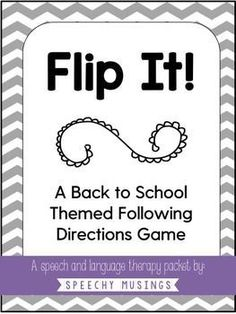 A FREE back to school activity for speech therapy! Targets following directions and concepts. Low-prep! From Speechy Musings.