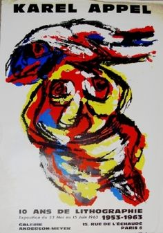 Karel Appel, Exposition Louise Leiris, poster proposed by Galerie Hus for sale on the art portal Amorosart Respect Images, Miro, Exhibition Poster, Various Artists, Abstract Paintings, Illustration Art, David, Posters, Artwork