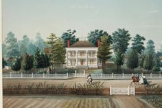 "Marie Adrian Persac (Franco-American, 1823-73), ""St. John Plantation, St. Martin Parish,"" 1861, Gouache and collage on paper"