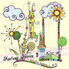 Sale! Fantasy Homes 2 Downloadable Clip Art - Personal and Limited Commercial Use by atelieroz on Etsy