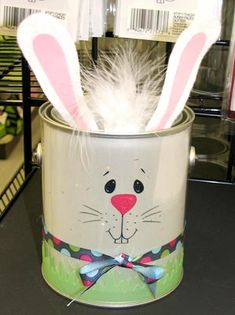 Easter bunny from a paint bucket