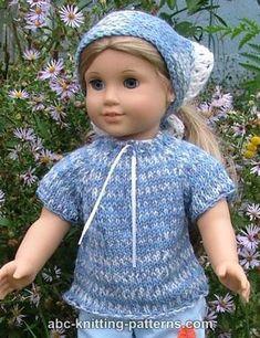 ABC Knitting Patterns - American Girl Doll Drawstring Raglan Summer Top and Kerchief
