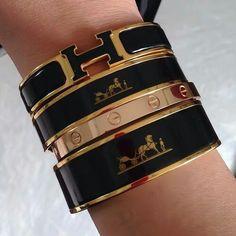 Hermes black stack♡