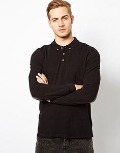 ASOS+Polo+With+Long+Sleeves+&+Elbow+Patch