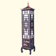 Lacquered Wooden Chinese Pagoda Lamp Hand painted with Asian Landscape and Carved Lattice Grid Asian Lamps, Chinese Pagoda, Asian Landscape, Japanese Gifts, Oriental Furniture, Black Floor Lamp, Asian Decor, Carving, Wood Flooring