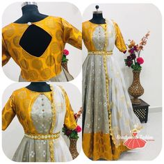 Look Stunning in dis Banaras Dress by Look this gorgeous outfit If you are someone who loves or looking for… Half Saree Designs, Saree Blouse Neck Designs, Fancy Blouse Designs, Dress Neck Designs, Designs For Dresses, Party Wear Indian Dresses, Indian Gowns Dresses, Dress Indian Style, Indian Long Dress